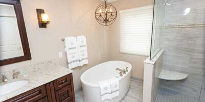 New Countertops, Cabinets, Soaking Tub, Tiled Shower, and Glass Shower Door