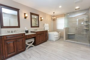 View-Including-Cabinets,-Flooring,-Tub,-and-Shower