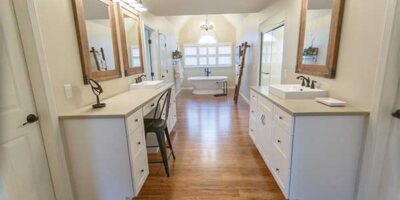 White Cabinets, Updated Sinks & Fixtures and Stand Alone Tub